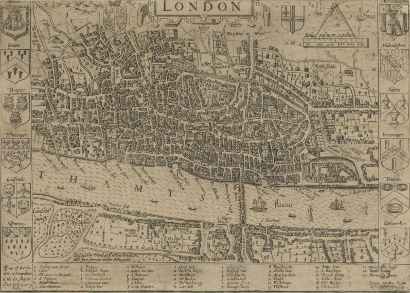 Map of London in 1593